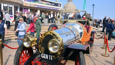 Pictured is an authentic 18ft-long racing car used in the 1968 film Chitty Chitty Bang Bang which ap