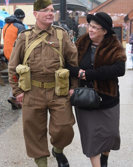 The clock is turned back to the 1940s at the Whitwell and Reepham Station. Maureen and Christopher P