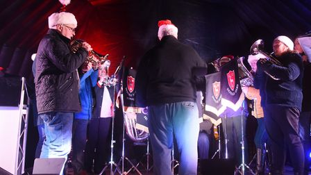 Members of the Dereham Town Band play at last year's Christmas lights switch on event. Picture: DENI