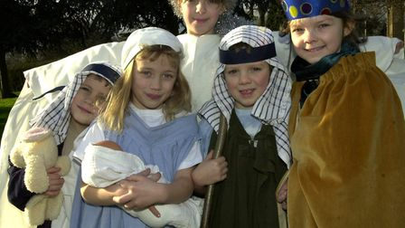 Children from the Kershaw and Youngs family get together to perform their own nativity in Fakenham.