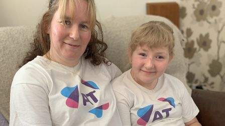 Justine Sprawling with daughter Brooke, 11, who has a rare condition called ataxia telangiectasia. P