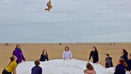 Youngsters from Colkirk school have been investigating air resistance at Wells-next-the-Sea. Picture
