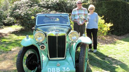 Ronald and Karen Loomes with their winning 1936 MG PB Airline Coupe. Picture: Stody Lodge Gardens.