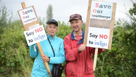 Tony and Margaret Walters, protesting the proposed 200 homes in Sculthorpe, which did not go ahead.