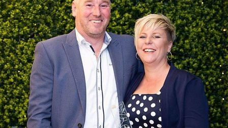 The Fox at Lyng owners Victoria and Gavin Hunt at BII awards. Pictures: supplied by Vicki Hunt