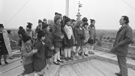 Fakenham brownies on top of the church tower Photo: 9th may 1984 Archant Library