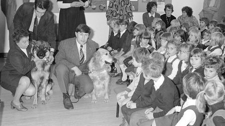 Guide dogs at Fakenham infants school Photo: 16th oct 1979 Archant Library