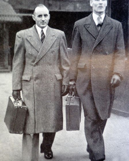 (L TO R) William O'Callaghan and Albert Pooley arriving at the War Crimes Court in Hamburg, members