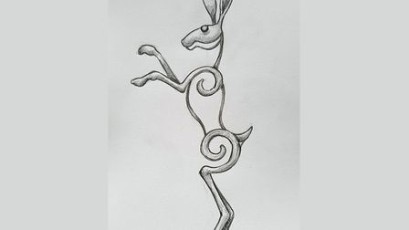 A sketch of what the dancing hare artwork at Watton will look like. Picture: Holkham Forge