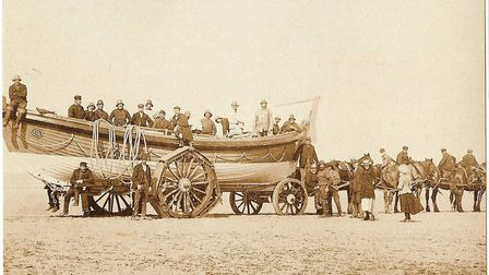 This beach photo is one of the exhibits at the 150th anniversary. Pictures: Wells lifeboat