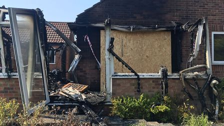 Fire tore through the kitchen and conservatory at a bungalow on Gwyn Crescent in Fakenham. Picture: