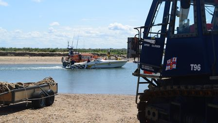 The powerboat Big Old Cat being brought into the Port of Wells by the RNLI. Picture: RNLI Wells Life