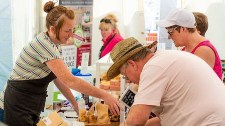 Shoppers sample the goods at Pensthorpe's Summer Market PICTURE: Steve Adams