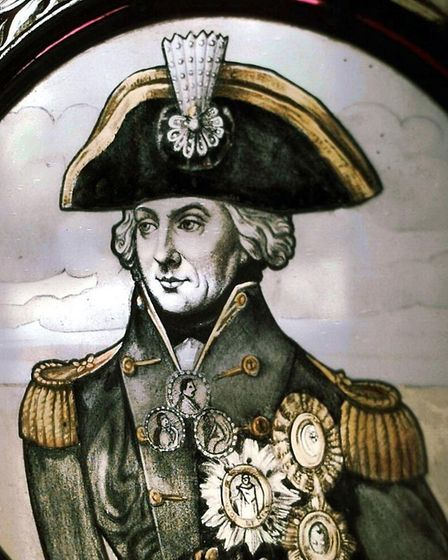 Lord Nelson, captured in stained glass at the village hall in Burnham Thorpe. Picture: Archant