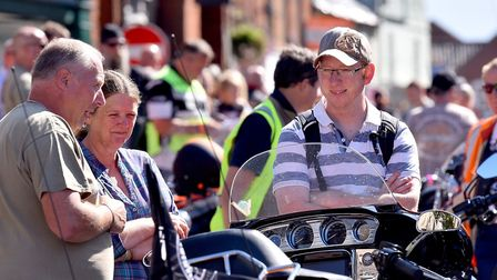 Harley Davidson owners gather in Fakenham Market Place. PICTURE: Nick Butcher