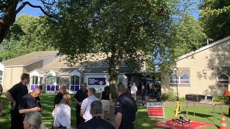 People arriving at the police question and answer session in Fakenham. PICTURE: Matthew Farmer