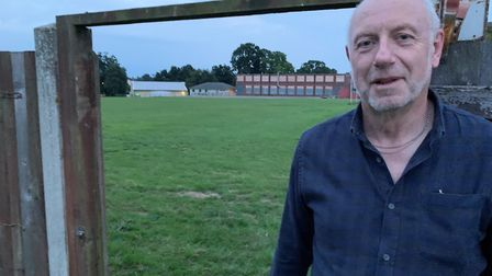 Fakenham Cricket Club secretary Kevin Webb standing by the land the club hopes to lease Picture: Mat