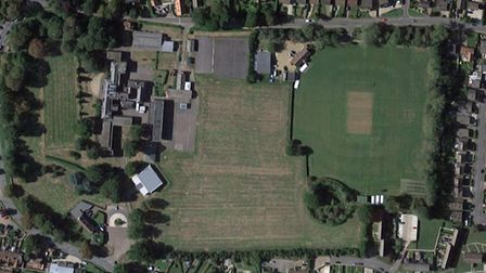 Fakenham's cricket grounds, right, and the field they would like to occupy, left PICTURE: Google Map