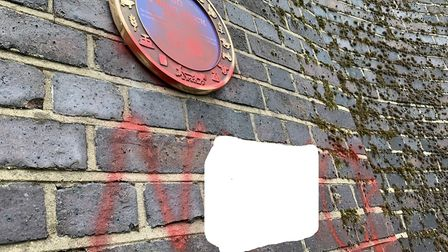 The previously defaced plaque at Three Brick Arches, edited to obscure obscenities PICTURE: Matthew