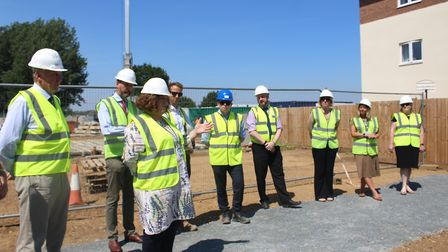 District councillor Karen Ward, overseeing housing and planning, talks to amassed guests PICTURE: Ma