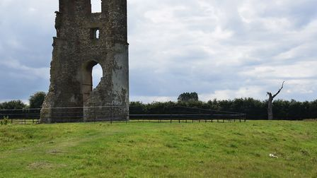 The tower from the ruins of All Saints Church still standing at the new visitor trail around the los