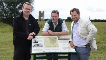 Owner James Garner, right, with David Robertson, archaeologist, centre, and Ian Groves, landscape hi