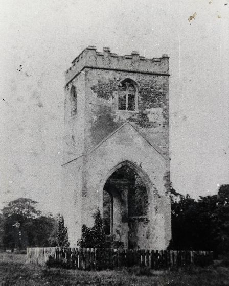 The church tower remained almost complete until 1981, when its eastern wall collapsed. Picture: John