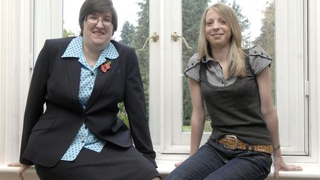 Sharon Moore and cousin Donna Leaver in 2008, aiming to cross the £25,000 with a charity bingo night