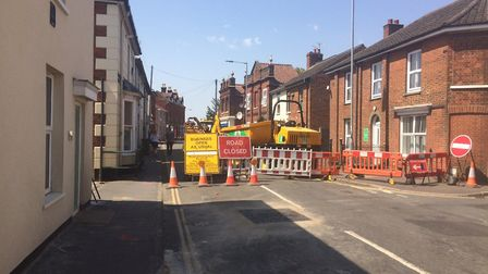 Wellington Road in Dereham is shut for four weeks for roadworks. Picture: Archant