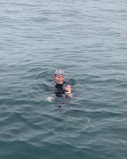 Donna Flannagan, of Dereham, swimming across the Wash from Lincolnshire to Norfolk. Picture: Supplie
