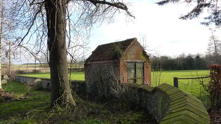 The decaying gas house at St Andrews in Great Ryburgh prior to its restoration as the William Martin