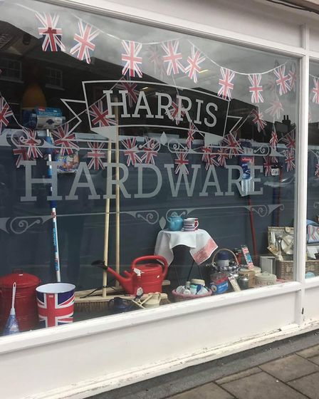 Harris Hardware in Dereham Market Place, which was one of the highly commended displays in the Peace