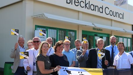 Breckland Council have raised the Norfolk flag to celebrate Norfolk Day. Picture: Supplied by Breckl