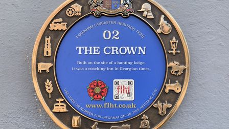A Fakenham heritage trail plaque outside The Crown pub, in the town centre PICTURE: Matthew Farmer