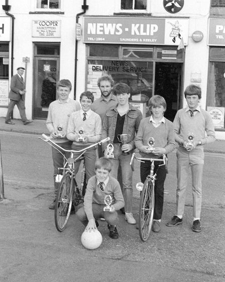Fakenham Newsboys football team on October 3, 1983, in front of News-Klip and the cyclists' symbol P