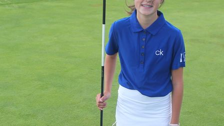 Chloe Tabard on the eighth green after her hole in one Picture: CLUB