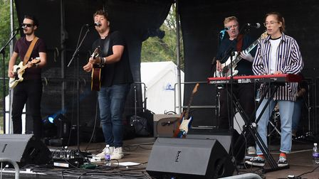 Norfolk's Jake Morrell, second left, and his band play at the Reepham Festival. Picture: DENISE BRAD
