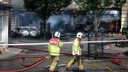 Firefighter Ian Grand was one of the first at the scene when a huge blaze broke out in Fakenham town