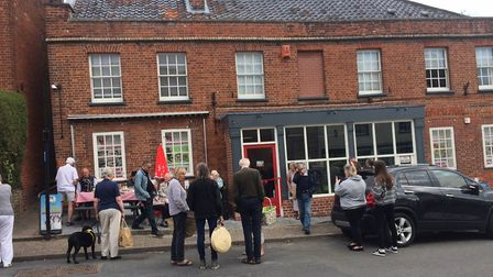 Crowds gathered for the official reopening of Johnson's of Reepham. Pictures: David Bale