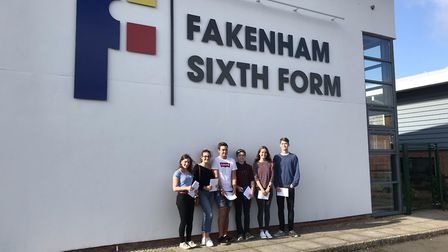 Students celebrating their A-Level Results at Fakenham Sixth Form. Picture: Archant