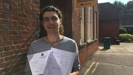 Barnaby Milton, from Shipdham, picked up his A-level results at Dereham Sixth Form. Picture: Archant