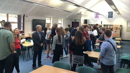 Students pick up their A-level results at Dereham Sixth Form. Picture: Archant