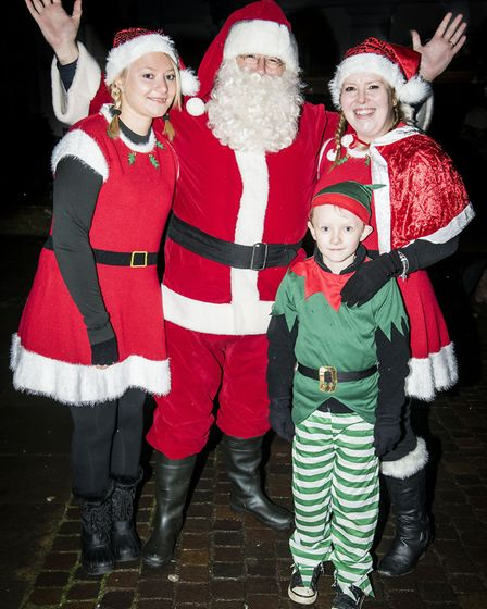 Scenes from Fakenham Christmas Lights switch on 2015 - Father Christmas arrives. Picture: Matthew Us
