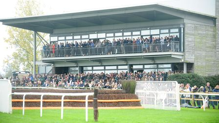 A packed Prince of Wales Stand watching the racing at Fakenham Racecourse. Picture: Ian Burt