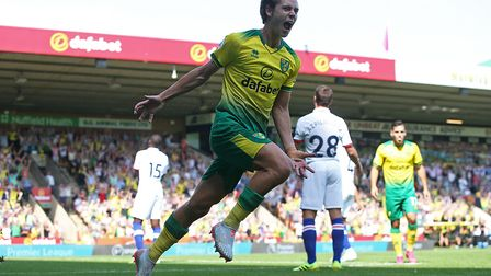 Todd Cantwell of Norwich celebrates scoring his sideÕs 1st goal during the Premier League match at C