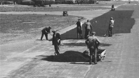 A runway is surfaced at Shipdham Airfield during the Second World War (May 1943). Picture: Submitted
