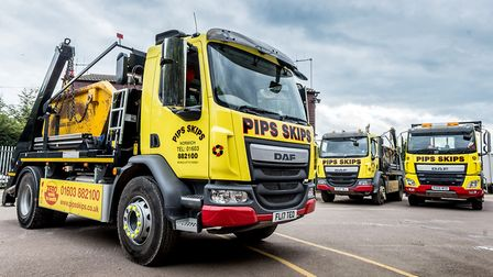 A fire destroyed 40,000 tonnes of wood and a shredder at the Pips Skips yard in East Tuddenham. Pict
