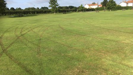 Bradenham Cricket Club's pitch has been left covered in tyre marks. Picture: Brett Gates