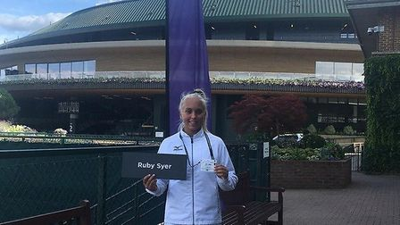 Dereham tennis player Ruby Syer, 12, has fulfilled her dream of playing at Wimbledon. Picture: Sarah