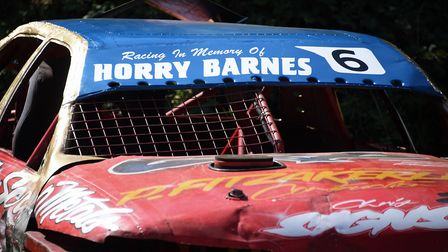 Cars belonging to stock car racing legend Horry Barnes on show at Aldiss Park during his funeral in